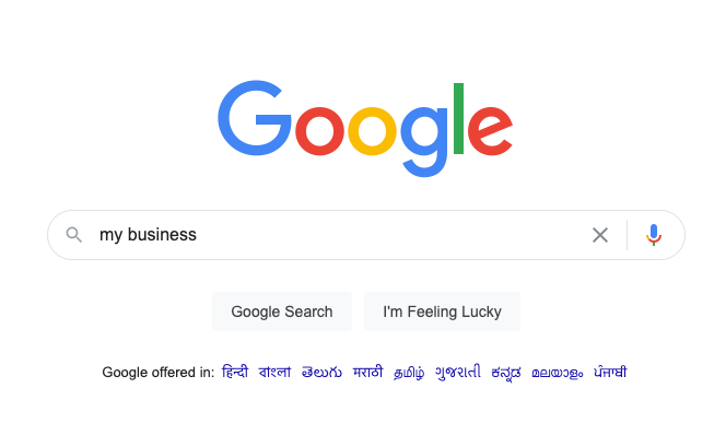 search results of google my business
