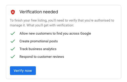 GMB Verification methods