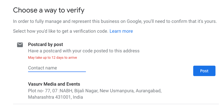 post card verification