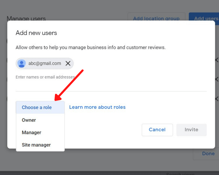 role selection for user in google my business